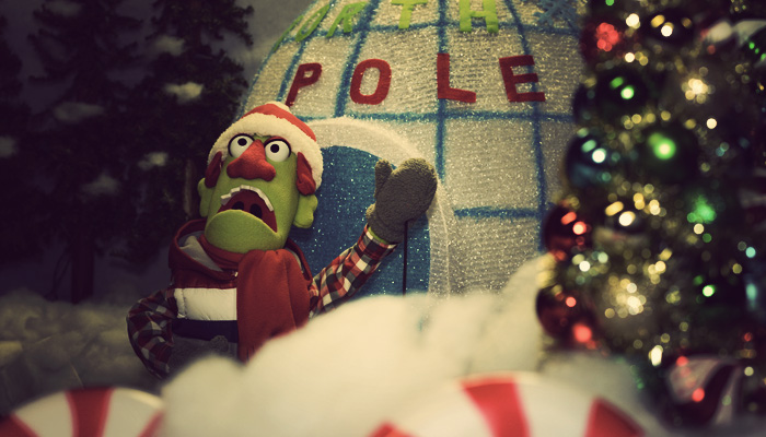 Kent Cook searches for Santa Claus at the North Pole for iSpotSanta.com